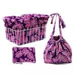 cruiser candy pink purple hibiscus basket liner bag